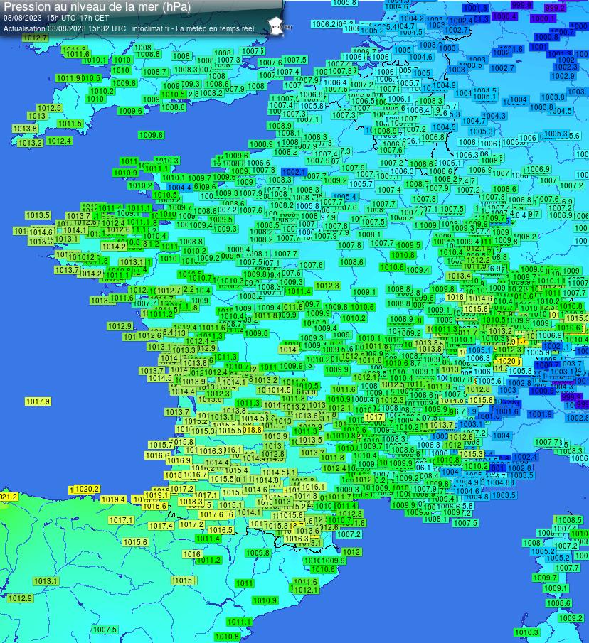Radar Pression Atmosphérique en France