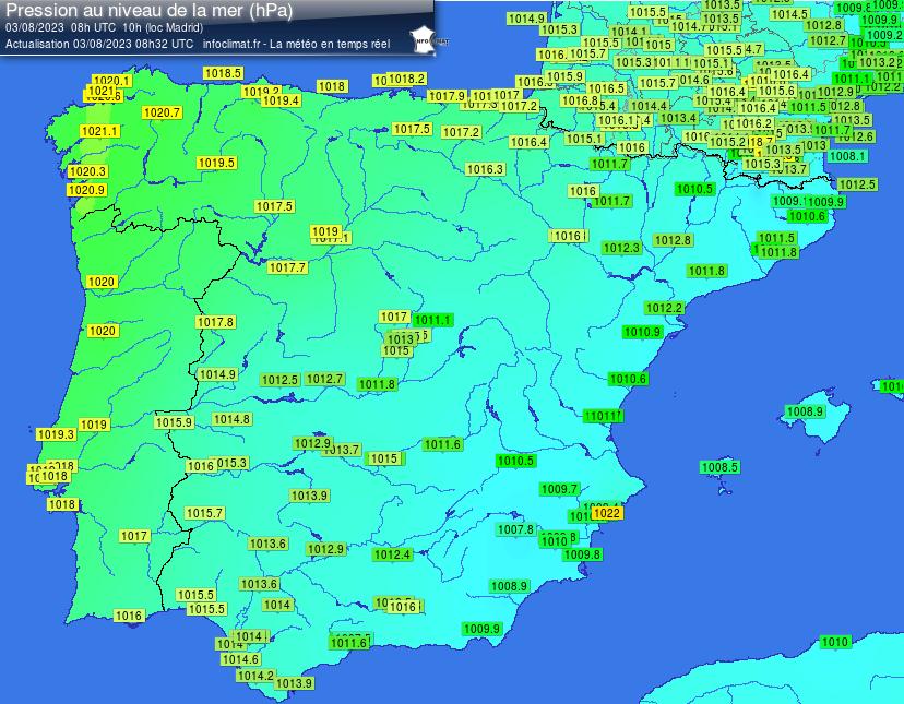 Mapa de presió atmosfèrica actual