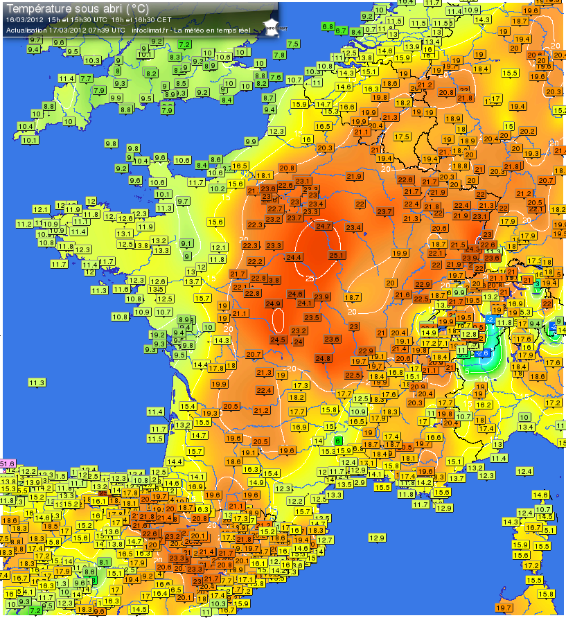 France Meteo Map France Weather Map