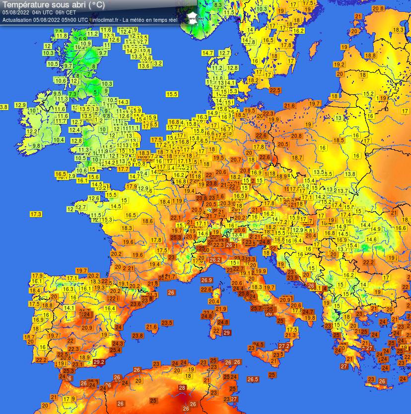 carte des temp�ratures en Europe