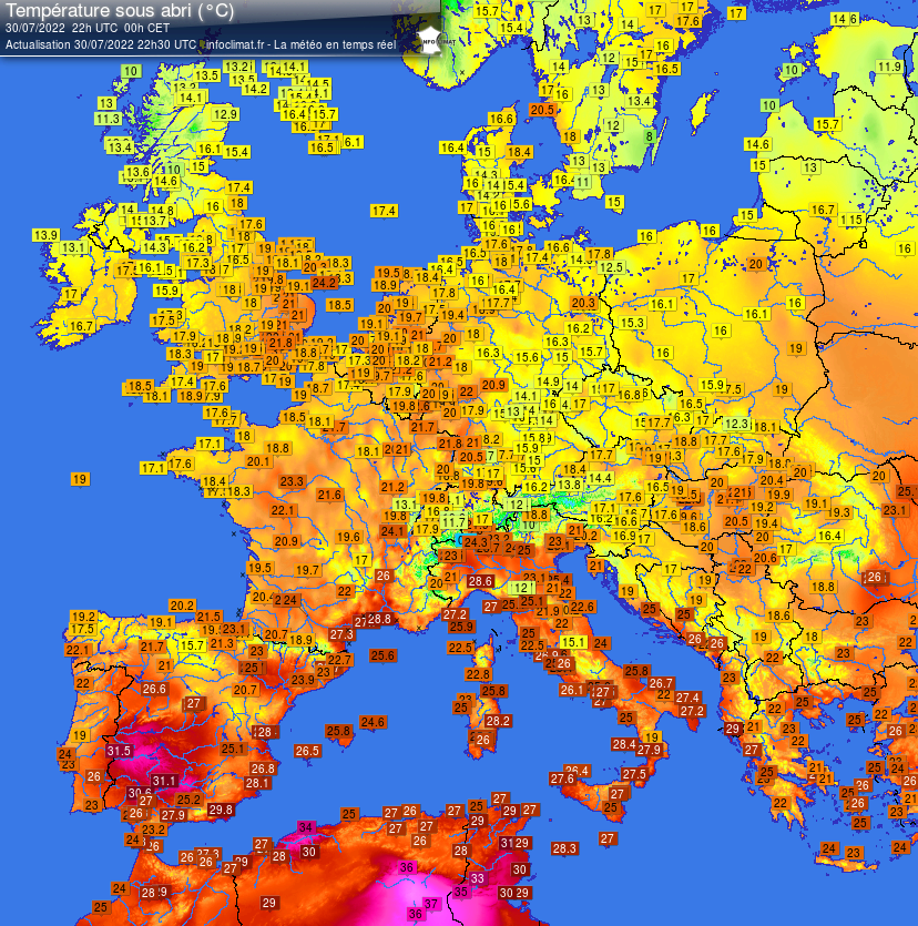 Actuele temperatuur in Europa
