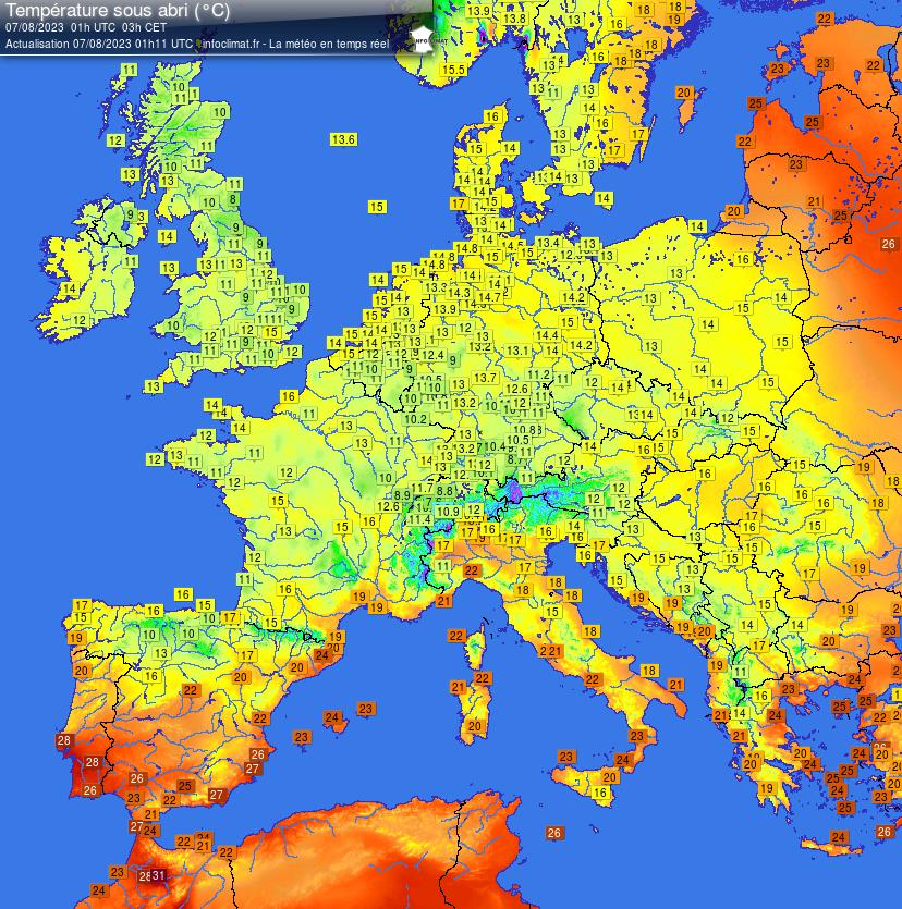 Actuele temp europa bij meteotines