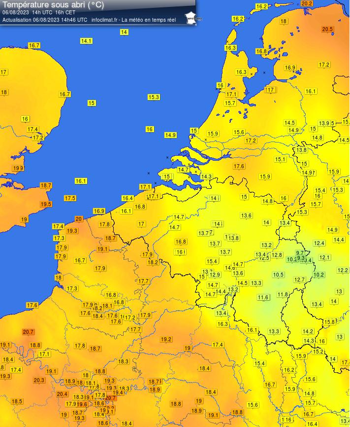 Benelux - Actuele Temperaturen